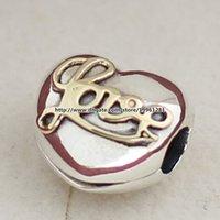 925 plata esterlina 14K oro verdadero del corazón del amor de clip pulseras de la joyería del grano del encanto europeo apto Estilo Pandora Collares pendientes