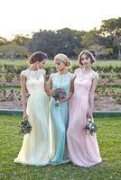 Wholesale A Line Formal Bridesmaid Dresses With Cap Sleeve Scoop neck Vestido Para Madrinha Blush Bridesmaid Dress China