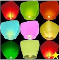 Cheap Wholesale-8pcs lot Kongmin light Chinese Fay Balloon Wishing Lamp Paper Sky Candle Xmas Wedding Flying Party Lanterns