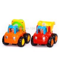 Wholesale box Christmas Gifts Inercia Brinquedos para Bebe Mixer Truck Dumper Baby Toys Huile Toys CD Happy Truck
