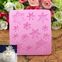 Wholesale Pink Christams Xmas Silicone Snowflakes Fondant Cake Decoration Mould Styling Tools Bakeware KDB_205