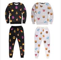 Emojis roupas Preços-Emoji Outfit Para Mulheres / Homens Unisex Emoji Joggers Set Nova chegada 3D pintado algodão misturado Emoji Outfit Pant Free Shipping
