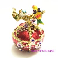 hand painted jewelry box - Vintage Hand Painted Love Birds Faberge Egg Rhinestone Jewelry Trinket Box for Birthday Gift Decoration Boxes