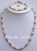 Wholesale hot new Fashion Style diy natural mm mixed colour pearl Necklaces Bracelet Earrings sets G4564