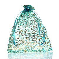 Wholesale 30PCs cmx23cm Skyblue Flower Organza Gift Bags Wedding Christmas Favor For Jewelry Packaging