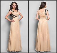 Wholesale Voguish Glam A Line V Neck Prom Dresses Chiffon Applique Pleats Sleeveless Floor Length