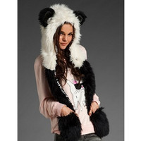 Cheap Wholesale-Winter New women's Faux Fur Caps Animal Hats With Long Scarf Wolf Paws men Beanies Caps warm Cartoon Hat Gloves for party
