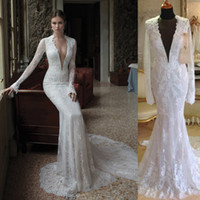 Cheap Berta Lace Wedding Dresses Mermaid Real Photos Deep V-Neck Long Sleeve Bridal Gowns High Quality Hollow Sexy 6589