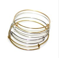 copper alloy - Silver Gold Tone Copper Expandable Wire Bangle Bracelet For Beading Or Charm Alex And Ani Bracelets Bangle ZN1