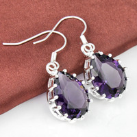 amethyst drop earrings - pairs Lucky Shine Classic Drop Amethyst sterling Silver Drop Earrings