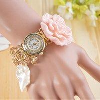 Cheap July newest fashionable ladies bracelet watches luxury Leaves flowers diamond pearl pendant quartz watch for women 230060
