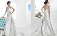 Cheap Flower Ruched Wedding Dresses Best Custom Crystals Dresses