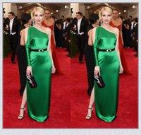 Cheap 2015 Met Gala EMMA ROBERTS Evening Dresses One Shoulder Peacock Green Celebrity Dress Sheath Split Side Floor Length Sheath Prom Dress XS