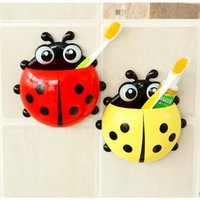 Wholesale Cartoon Sucker Toothbrush Holder Cute Suction Hook Ladybug Tooth Brush Rack Hot Accessories Set Suction Cup Tool For Bathroom