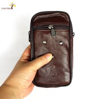 Wholesale Outdoor travel bag male cow leather mobile phone packages in inclined hand bag bag single shoulder bag real leather men cigarette package