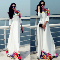 plus size womens clothing - 2016 Summer Sexy Long White Print Maxi Boho Beach Dress Womens Clothing Plus Size Robe Casual Vestido Longo Ropa Mujer WB1578