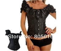 Cheap Wholesale-New Fashion Puff Sleeve Tops Sexy Full Steel Boned Lace Up Bustiers Corset hot Party Clubwear Drop Shipping