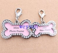 Wholesale S Size Stainless Steel Pet Cat Dog ID Tags Customized Personalized Bone Shaped Dog Tag Pink