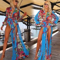 plus size summer dress - Plus Size Maxi Dresses Fashion Women Chiffon Dress Sexy Beach Deep V Long Sleeve Print Split Summer Clothing