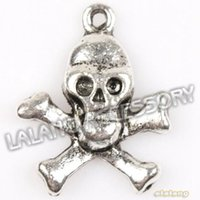 halloween charms - 75pcs Skull Head Cross Antique Silver Alloy Charms Fashion Small Halloween Charms Fit Jewelry DIY mm