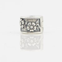 Flowers antique jewelry stores - 100 Sterling Silver Pandora Bracelet Necklace Pendent DIY Bead Jewelry White Crystal Antique Flower Charm Bead In Lucky Sonny Store
