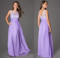 Wholesale 2015 Lavender Bridesmaids Dresses Sheer Cap Sleeves Wedding Guests Party Gowns A line Long Prom Dress Sweetheart Lilac Bridesmaid Cheap