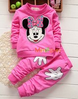 Wholesale New Girls Christmas Sets Kids Minnie Mouse Clothing Fall Cartoon Sweatshirts Suits Kids Tracksuits Children Boutique Outfit Seals168 FS B27