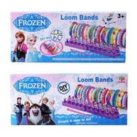Cheap In Stock Frozen Fun colourful loom bands DIY bracelets rubber rainbow band Anna Elsa bracelet the gift toy for children 600pcs set