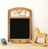Wholesale Wooden antique blackboard message board wooden presentation board retro wooden memo with embroider pc