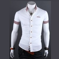 Wholesale Summer Fashion Style Mens Plaid Collar Shirts Brand High Quality Short Sleeve Shirts For Men Cotton Camisa Social Masculina
