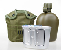 Wholesale Collectable Military USA Army Aluminum Mess Bottle Canteen Cup Cotton Cover QT for Outdoor Compact Combat