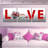 Cheap Free Shipping 3 Panels New Kind Art Picture For Wedding Gift Or Friend So Warm Rose On Canvas Modern Pure hand-painted Painting