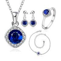 sapphire bracelet - Charm Sterling Silver Sapphire Necklace Earrings Anklet Ring Set S780 B Elegant Women s Wedding Jewelry set