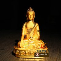 antique sculpture - L Tibetan Buddhist Shakyamuni Buddha Figurine Alloy Gold Plated Buddha Statue CM Metal Carving Sculpture Figurine Decoration Ornament