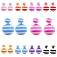 Wholesale 2015 Newest double pearl earrings for women fashion jewelry Lover candy colours double big pearls sided stud earring E003