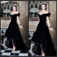 arabian robes - Saudi Arabian Evening Dresses Off The Shoulder Black Velvet Long Formal Prom Party Robe De Soiree