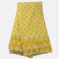 fabric for wedding dress lace - High quality lace material in yellow embroidered African water soluble lace fabric cord mesh cloth for wedding dress AW10 yards