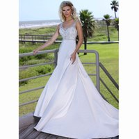 artistic garden - 2016 Artistic Satin Fabric V Neck Cap Sleeves Floor Length Appliques Sequined Mermaid Wedding Dress With Court Train Bridal Gown