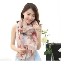 scarf material - Long Pashmina Flower Printing Shawl Pink Women Scarfs Good Quality Voile Material Soft Elegant Scarves