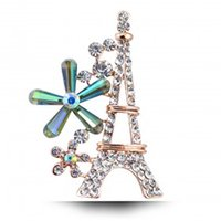 jewelry paris - 2015 new Austrian crystal brooch corsage brooch romantic Eiffel Tower in Paris high quality K Gold plated Cute style women jewelry