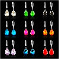 Cheap Fashionable Water Drop AAA Zircon Crystal Woman Lever Back Loop Earrings 925 Sterling Silver White Gold Plated Jewelry 9 Colors
