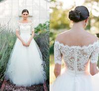 arias dress - Aria Bohemia Lace Beach Wedding Dresses Bateau Short Sleeves A line Tulle Bridal Dresses Cheap Wedding Gowns