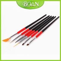 Wholesale-20 series x 6 piezas de clavo del sistema de cepillo pluma de dibujo del sistema de cepillo con Red Negro manija de madera del cepillo de pintura del clavo del envío libre