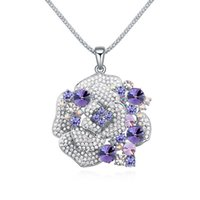Wholesale Austrian crystal roses long sweater chain of high end crystal jewelry pendant necklace