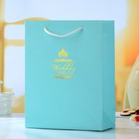 Cheap Free Shipping Top Grade Wholesale Price 36PCS Sea Blue Kraft Paper Boutique Bag+Festival Gift Box,Paper Bag With Handles