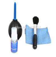 Wholesale New hot in Cleaning Kit blowing three piece lens cleaning cloth glasses cloth bottle and brush