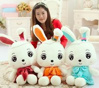 Wholesale Cute Animals Big Eyes - Hot Originality Stuffed Animals Cute Big Eyes Rabbit Stuffed Toys Bithday Fifts For Plush Toys Three Color Height 55CM 3Pcs Lot K281