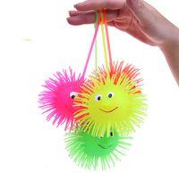 Wholesale LED Light Emitting Hedgehog Plush Ball Elastic Ball Hlashing Hairy Ball Vent Toys Children Toys