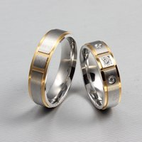Wholesale FOGEOS L Stainless Steel K Gold Plated CZ Couples Wedding Bands Men Women His and Hers Promise Anniversary Ring Valentine Gift