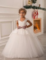 little girls beautiful dresses - 2015 Beautiful White Little Girls Dresses Cap Sleeve Bow Lace Floor Length Ball Gown Flower Girl Dresses